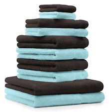 Betz Juego de 10 toallas CLASSIC 100% algodón de color marrón oscuro y turquesa
