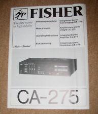 FISHER CA-275 Bedienungsanleitung Mode d'emploi Operating Instructions Bruksanv.