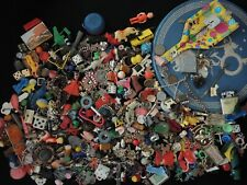 Vintage Giant Collection of Key Chain and Other Toy Novelties in Tin Container