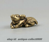 36MM Chinese Pure Bronze Zodiac Lucky Animal Bull Oxen Cattle Ox Small Statue生肖牛