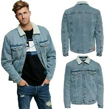 Only & Sons Mens Jean Jacket Fur Collar Warm Smart Casual Winter Denim Coats