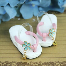 BJD Shoes Clog Slipper for 1/6 1/ 4 1/3 BJD Doll Bell & Cherry Blossoms Deco Diy