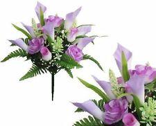 "Lavender Rose Lily 17"" Bouquet Poly Silk Wedding Home Decor Craft Flower Leaf"