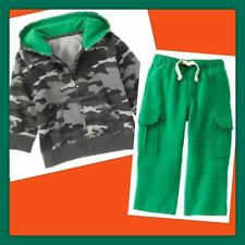 NWT 12-18 mos Gymboree ICE ALL STAR camo Hoodie Green Sweat Pants 2pc SET outfit