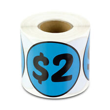 "2 Dollars Stickers Garage Sale Yard Retail Flea Market Money Labels (2""x2"", 1PK)"