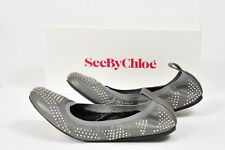 NEW See by Chloe Shoes Scrunch Studded Leather Ballet Flats Size 8.5 39.5 Studs