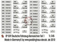 Peddinghaus 1/35 German Wehrmacht and Waffen-SS License Plates WWII No.1 559