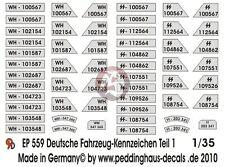 Peddinghaus 1/35 German Wehrmacht and Waffen-SS License Plates WWII No.1 559