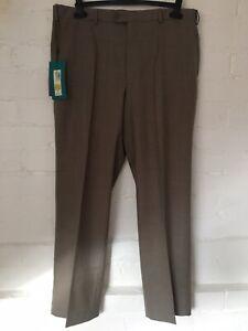 M&S Mens Wool Blend Trousers Size W/38 L/29 Regular Flat Front Neutral RRP£39.50