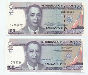Philippines 100 Peso, year 2000 and 2001, prefix D and BX x2pcs (AU-UNC)
