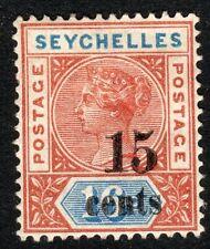 Seychelles 1893 Surcharged 15c on 16c crown CA Die II mint SG19