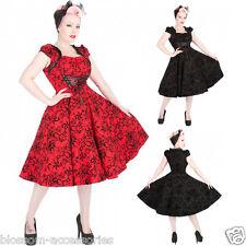 RKH74 Hearts and Roses H&R Flock Floral Rockabilly Evening Dress Vintage Swing