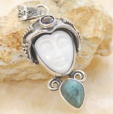 Carved face White ceramic & turquoise gemstone silver pendant Jewelry BP95