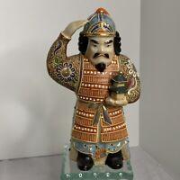 Japanese Enamel Over Porcelain Moriage Figurine Warrior