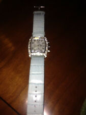 GG RHINESTONE LADIES WATCH PEARLIZED DIAL BLUE FAUX LEATHER BAND