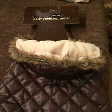 HOLLY ROBINSON PEETE Large Faux Fur Hooded Dog Parka [2012] - NEW! - brown