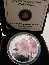Canada $20 Fine Silver coin Rhododendron with Swarowsky crystals - #3 in series