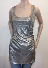 DIANE VON FURSTENBERG DVF Cameo Blossom Silver Tunic Vest Top 8 / S RRP:£279.00