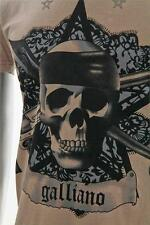 JOHN GALLIANO Mens Taupe Graphic Skull Star Casual Short-Sleeve Tee T-Shirt