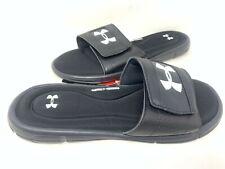 NEW! Under Armour Men's Ignite V Comfort Slides Black/White #1287318-001 z