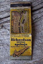 Richardson Mineral Springs California Vintage Advertising Matchbook Nude Indian