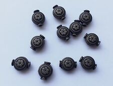 10 pieces - rustic brass colour long bead with hole - 1 cm x 0.8 cm