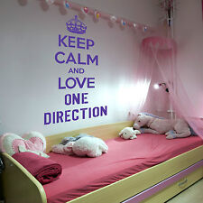 KEEP CALM AND LOVE ONE DIRECTION 1D WALL ART STICKER GIRLS ROOM MUSIC DECAL