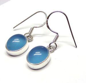 Handmade 925 Sterling Silver Blue Chalcedony Drop Earrings + Gift Bag 30 x 8 mm