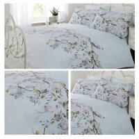 Duck Egg Duvet Covers Blue Eloise Floral Bird Tree Easy Care Bedding Quilt Sets