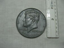 "VINTAGE OLD LARGE 3"" NOVELTY COIN 1776-1976 KENNEDY SILVER HALF DOLLAR"