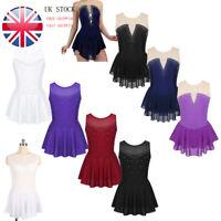 UK_Girl Ballet Leotard Dress Gym Skating Rhinestone Tutu Skirt Dancewear Costume