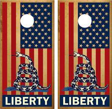 "American Flag ""Liberty"" Rattlesnake Cornhole Board Decal Wrap Wraps"