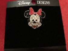 New Minnie Mouse Face Rhinestone Brooch Pin  Disney Collectible Nice!