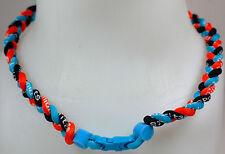 "New! 20"" Custom Clasp Braided Orange Light Blue Black Tornado Necklace Twisted"