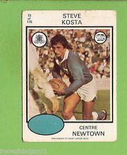 1975  NEWTOWN  SCANLENS  RUGBY LEAGUE CARD #32  STEVE KOSTA