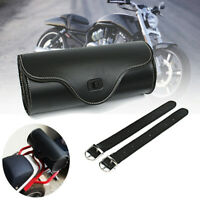 Universal Motorcycle PU Leather Tool Roll Saddle Bag Side Pouch Barrel Storage
