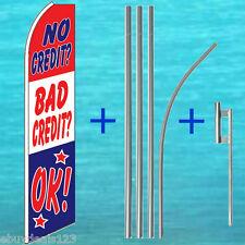 No Credit? Bad? Ok! Flutter Feather Flag + Pole + Mount Kit Swooper Bow Banner