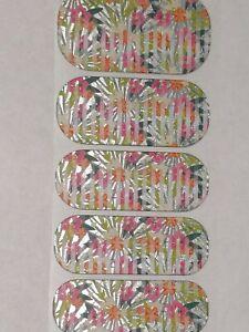 Jamberry KINGSTON Half Sheet Floral Nail Wraps Tropical Metallic Matte Flowers
