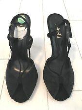 Bnwob femme Minelli en Daim Noir Sandales Chaussures de fête de mariage, taille 4/37