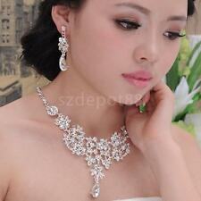 Sparkly Bridal Diamante Necklace Earrings Set Wedding Party Prom Fashion Jewelry