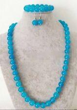 """Natural 10mm Blue Jade Round Gem Beads Necklace Bracelet Earring Set 7.5/24"""""""