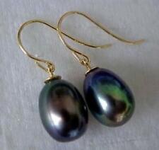 Elegant AAA 13-14mm real natural Tahitian black green baroque pearl earring 14k