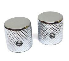 (2) Chrome Barrel Knobs for Fender Tele®/P Bass® with 6mm Split Shaft MK-004-C
