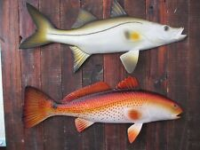 "Redfish Snook Hand Painted 19"" Replica Wall Mount Game Fishing Salt Water"