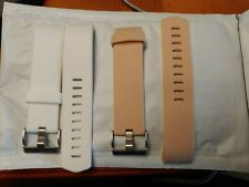 Lot Of 2 Charge Fitbit Size Small Replacement Bands / 1 pink 1 white