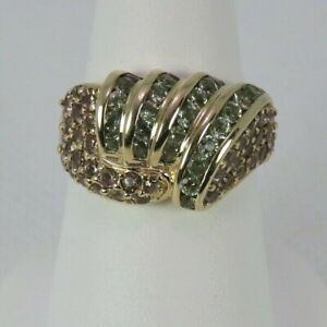 ESTATE 10k Yellow Gold Emerald Ring Women Size 6.5