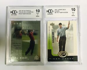 Lot 2xTiger Woods Rookie Cards BCCG10