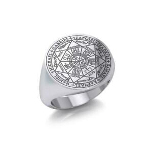 Seven Archangels Seals Signet Ring .925 Sterling Silver Peter Stone Fine Jewelry