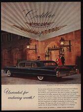 1960 CADILLAC FLEETWOOD 75 Black Limosine Car & Chauffer VINTAGE AD