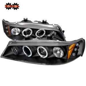 FOR Honda Accord 94-97 2/4 Dr  DRL Black Housing Projector Halo LED Headlights
